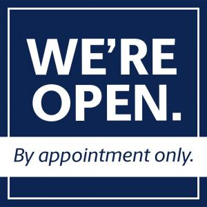 we are open by appointment only