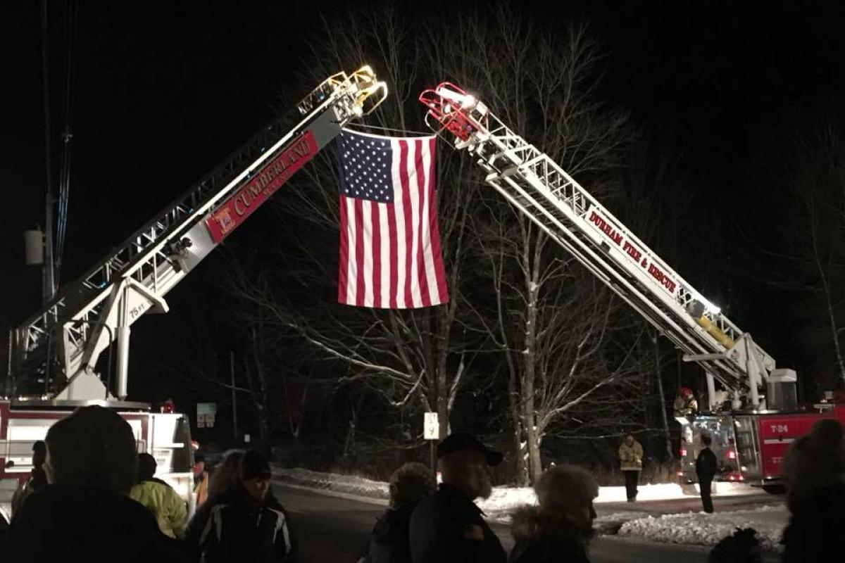 The Wreaths Across America escort travels thru town