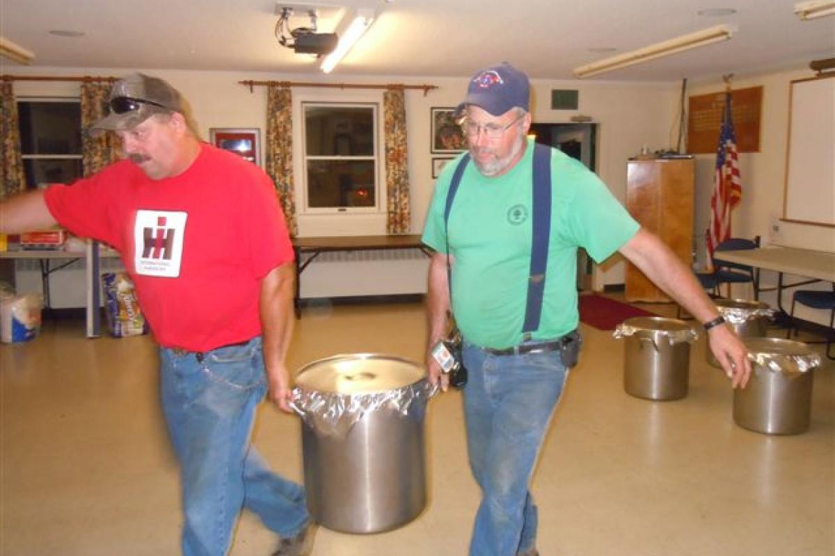 """Preparing for the """"Bean Hole Supper""""  - Clark Baston and Jim Knight"""