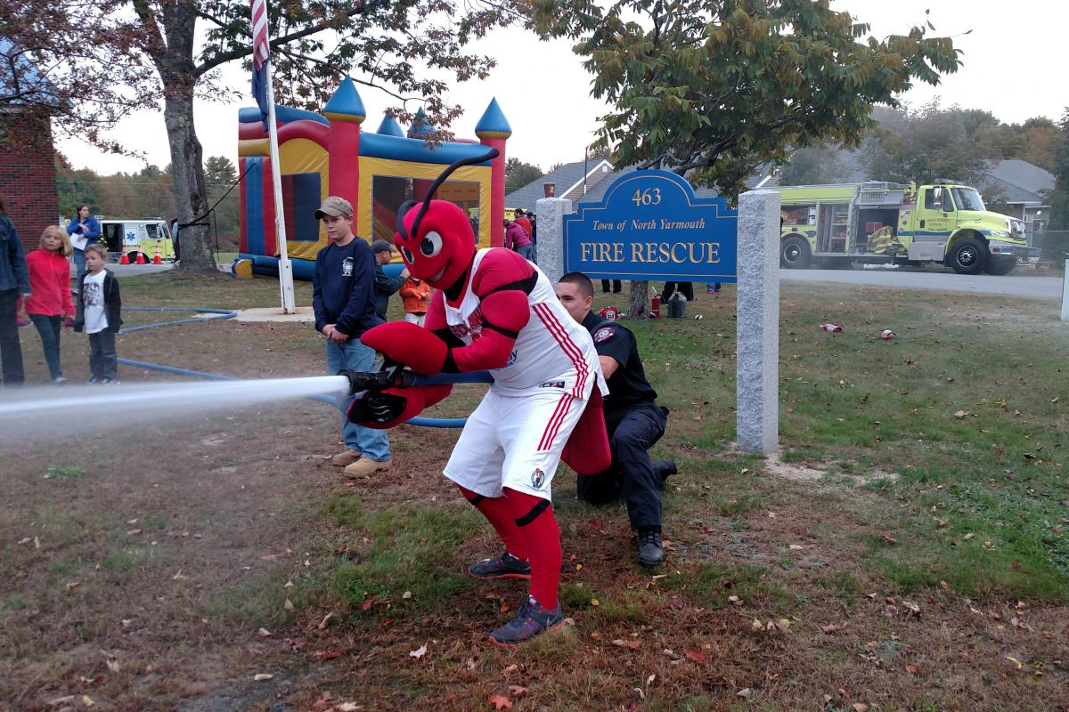 Portland Red Claws' Crusher at the Fire Rescue open house